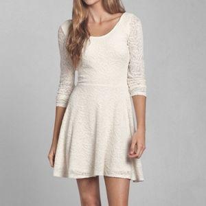 Cream Off White Lace Skater Dress